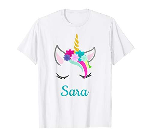 Sara Einhorn Namen T-Shirt für Sara