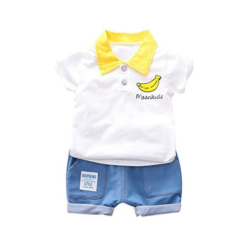 LABIUO 0-3 Jahre Alte Babykleidung, Kinderjungen Bananen Druck T Shirt Casual Kurze Hosen Outfits Set Baby Zweiteilig(Weiß,18-24 Monate) (Kids Banane Kostüme)
