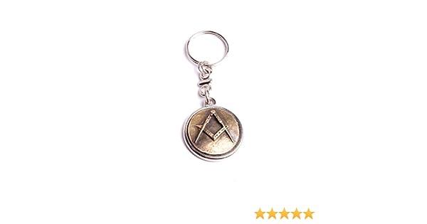 Porte clef ma/çonnique /équerre et compas m/étal bicolore made in France