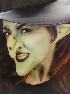 Latex ProthesenAbzieher grüne Hexe, Halloween-Motiv mit Ohren und Nase Kinn (Halloween Makeup Prosthetics)