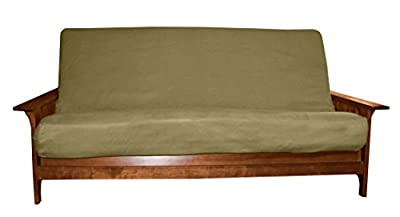 Epic Furnishings Better Fit Machine Washable Upholstery Grade Futon Cover, Full-size over 8-inch loft, Suede Olive Green