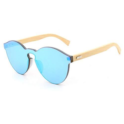 TOOSD Sunglasses Männer Frauen Auto Anti-Glare Bamboo Feel-Shollen Big Frame Wild Frameless Personality Resin Linsen Eyewear Candy Color Brillen Für Wayfarer,Blue