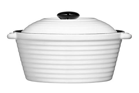 Premier Housewares OvenLove Casserole Dish with Lid, 17.5 cm - White