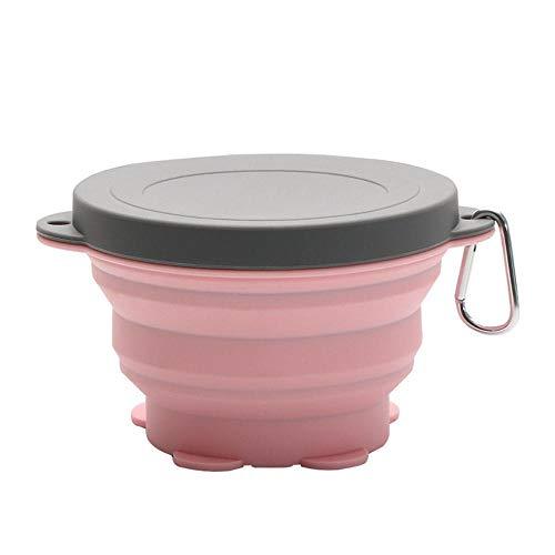 PIPIYUN Piyun Silikon-Fressnapf, zusammenklappbar, tragbar, faltbar, erweiterbar, für Haustierfutter, BPA-frei, tragbarer Reisenapf - Small pink - Storage Metall Food Pet