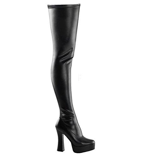 Higher-Heels PleaserUSA Overkneestiefel Electra-3000 Mattschwarz Gr.45 -