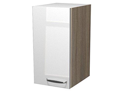 Flex-Well Exclusiv Oberschrank Valero 30 cm x 55 cm Hochglanz Weiß-Sonoma Eiche
