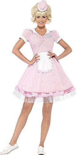 Smiffy's - Disfraz de hippie años 50Ž para mujeres con vestido, sombrero y mini, color rosa (43183S)