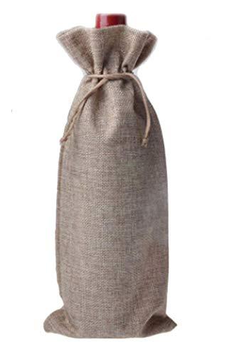 Natürliche Canvas Kordelzug (Mistari Weinflaschenbeutel, Leinen, mit Kordelzug, für Weinflaschen, tragbar, Reisezubehör, Party, Hochzeit, Geschenktüten, cremefarben Linen 10 Pack leinen)