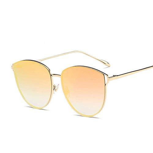 Honneury Sonnenbrille für Frauen, Cat Eye gespiegelt Flache Linsen Metallrahmen Sonnenbrille UV400 (Farbe : Gold/Yellow)