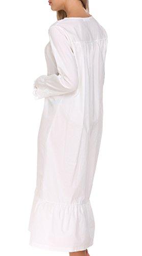 ADOME Damen Kleid Nachthemd Baumwolle Viktorianischer Stil Schlafkleid Hauskleid Negligee Langarm Lange Schlafanzüge A-Weiß
