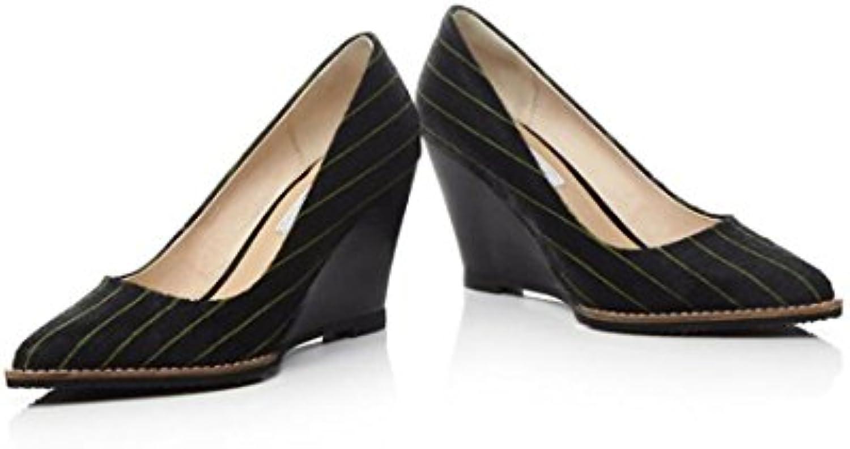 Zapatos de Mujer New Slope Shallow Classic Stripes Pointed High Heels Sandalias de Verano Pump 8.5cm