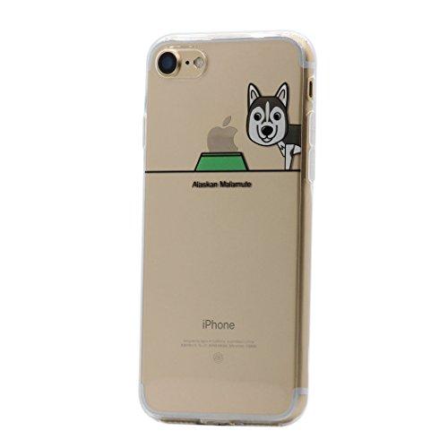 iPhone 8 Plus / 7 Plus Funda Carcasa , Keyihan Perro Lindo patrón Suave TPU Silicona Transparente Ultra Delgada y Ligéra Parachoques para Apple iPhone 8 Plus / 7 Plus (Malamute de Alaska)