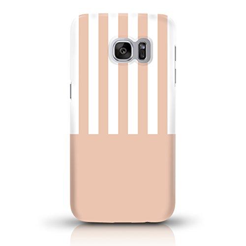 """JUNIWORDS Handyhüllen Slim Case für Samsung Galaxy S7 - Motiv """"Altrosa, Chevron, Marmor"""" Schutzhülle für Ihr Smartphone Aprikot-Weiß gestreift"""
