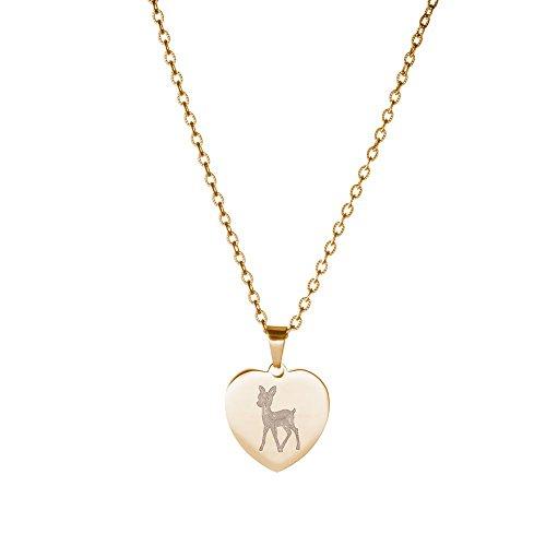 Gravado – Damen Halskette mit Herz-Anhänger aus Edelstahl – Farbe Gold – REH-Motiv – Mit Geschenkbox – Geschenkidee – Damen Schmuck