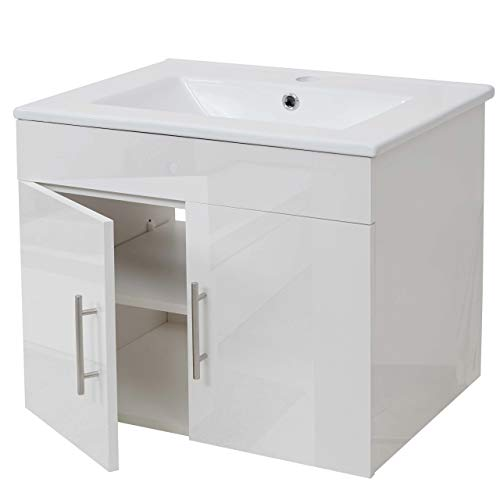 Mendler Waschbecken + Unterschrank HWC-D16, Waschbecken Waschtisch, Hochglanz 60cm ~ weiß -