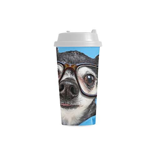 Nette Chihuahua Hundetier Gewohnheit 16 Unze doppelwandige Plastikisolierte Sport Wasser Flaschen Schalen Pendler Reise Kaffeetassen für Studenten Frauen Milch Teetasse Getränk (Kostüm Milch Glas)