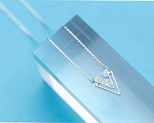 Katylen S925 Silber Halskette Weiblichen Japanischen Stil Persönlichkeit Doppel Dreieck Muster Set Kette Einfache Geometrische Schlüsselbein Kette, S925 Silberkette, Wie Gezeigt