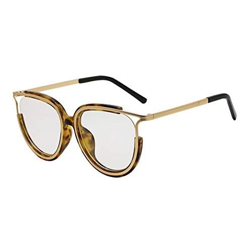 Siwen Neue Übergröße Halbrahmen Sonnenbrille Frauen Mode Cat Eye Klare Linse Brillen Optische Brillengestell,Amber Clear