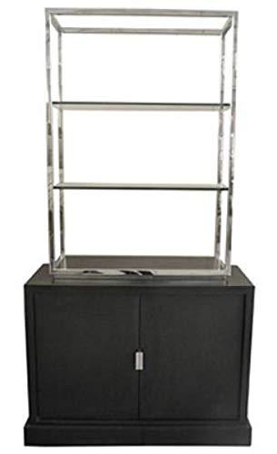 Casa Padrino Luxus Wohnzimmerschrank Schwarz/Silber 109 x 42 x H. 201 cm - Luxus Wohnzimmermöbel