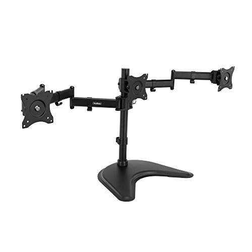 VonHaus Fully Adjustable Triple Three Arm LCD LED Monitor Desk Mount Bracket Stand For 13-27″ Screens with 45° Tilt & 180° Swivel