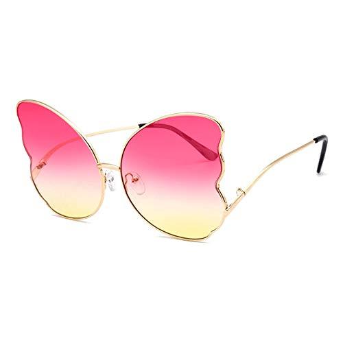 WULE-Sunglasses Unisex New Schmetterling Form Gold Big Border Sonnenbrille Weibliche Persönlichkeit Metall Brille Trend Fashion UV400 Schutz Powder Yellow Gradient Lens