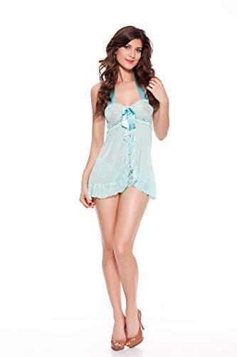Shangrui Damen Dessous Set, Mesh Chemise Nachtwäsche mit V-Ausschnitt Nachthemd (Kostüm Chemise Blanche)