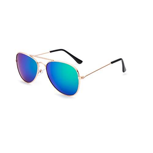 Sportbrillen, Angeln Golfbrille,Classic Vintage Kids Mirror Sunglasses Boys Girls Retro Punk Metal Frame Goggles Colorful Sun Glasses For Children UV400 gold blue