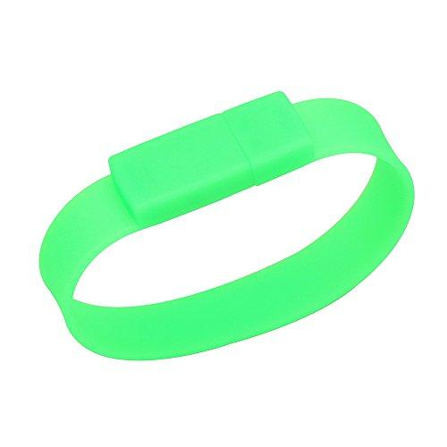 Grünes Silikon-Kautschuk-Armband mit 64 GB Flash Drive USB Memory Stick Ostern Valentines Mütter Väter Tag Graduate Weihnachtsgeschenk Stocking Stuffer für Jungen Männer Mädchen Frauen Studenten