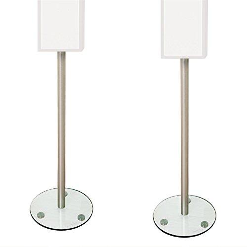 STILISTA® 2 Stück Alu Lautsprecherständer mit Kabelkanal, Varianten: Klarglas und Schwarzglas, 8mm Sicherheitsglas