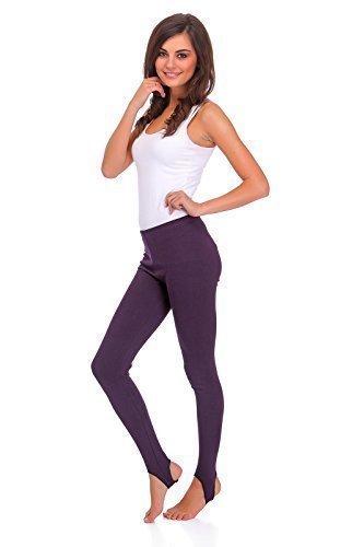futuro fashion Winter volle Länge sehr warm dick schwere Baumwolle Steigbügel Leggings (Fleece innen) Größen 8-22 lsyx Plum