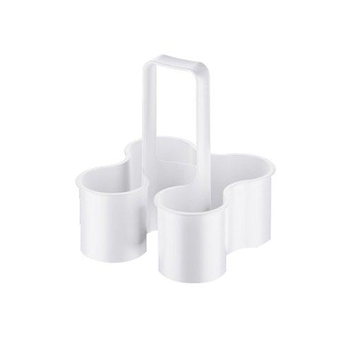 Koziol 3591525 Flaschenträger Caddy, Plastik, solid weiß, 28 x 18 x 18 cm