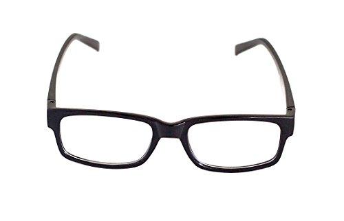 Nerd-Brille Schwarz ohne Sehstärke Slim-Brille Slim-Fit 15cm Herren Damen Unisex Panto-Brille Lese-Brille Klar-Glas Nerd-Brille Geek-Brille Dark (Blue Brothers Kostüm Frauen)