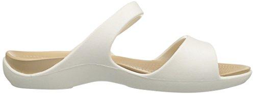 Crocs Cleo V Sandal Women, Sandales Femme Blanc (Oyster/Gold)