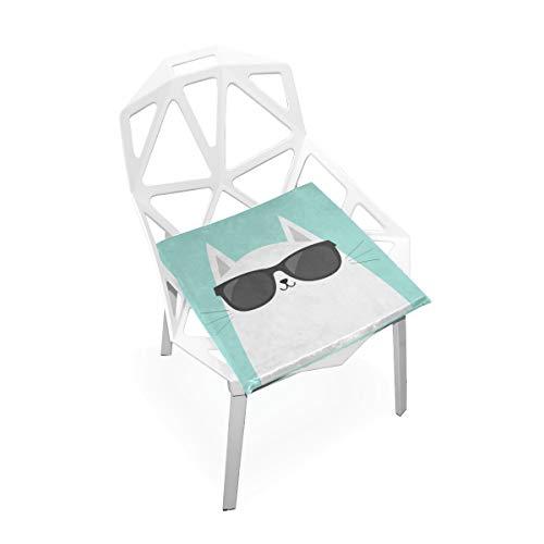 Kühle Katze Abnutzungs Gläser weiche Rutschfeste quadratische Gedächtnisschaum Stuhl Auflagen Kissen Sitz für Hauptküche Esszimmer Büro Rollstuhl Schreibtisch Innen 16 x 16 Zoll