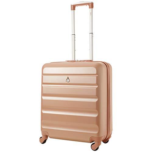 Aerolite 56x45x25 dimensione massima Easyjet / Jet2 / British Airways ABS trolley bagaglio a mano valigia rigida con 4 ruote, Rosa Oro
