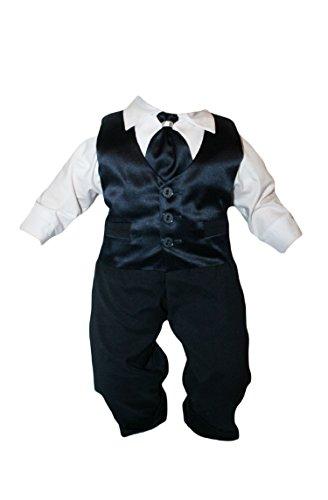 Taufanzug Baby Junge Kinder Hochzeit Anzüge Festanzug, 4tlg , Marineblau-Weiß K15 Größe 68