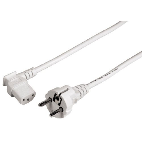 Hama Netzkabel für Kaltgeräte 3 m 90 Grad (Stromkabel für PC, Monitor, Drucker, PS3, angespritzte Schutzkontakt Stecker, 3 polig, gewinkelt) weiß