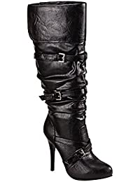 S-High Heels - Eleganter Riemen Stiefel Krissi in Leder-Optik schwarz