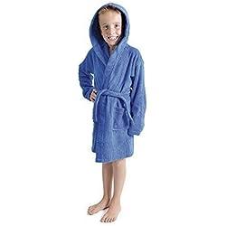Aumsaa Garçons Enfants Robe de Chambre à Capuche Tissu éponge Peignoir 100% Coton Tissu éponge Serviette Peignoir Souple towling vêtement de détente 7-13 Ans - Royal, 13 Years