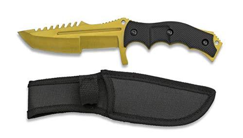Cuchillo Hoja Dorado Hoja 11,3 cm para Caza, Pesca, Camping, Outdoor,