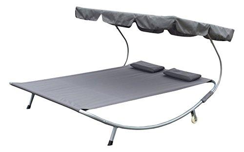 Outsunny Doppelliege Sonnenliege Relaxliege rollbar mit Dach Stahl Grau 200 x 173 x 155cm