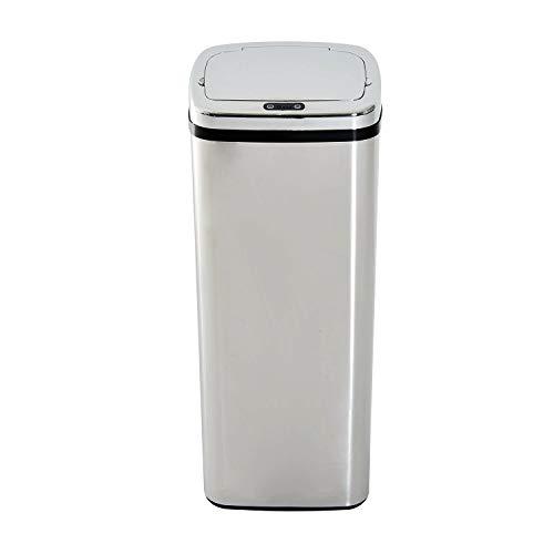 HomCom Cubo de Basura Inteligente - Color Plateado - Acero Inoxidable - 33 x 25 x 84cm