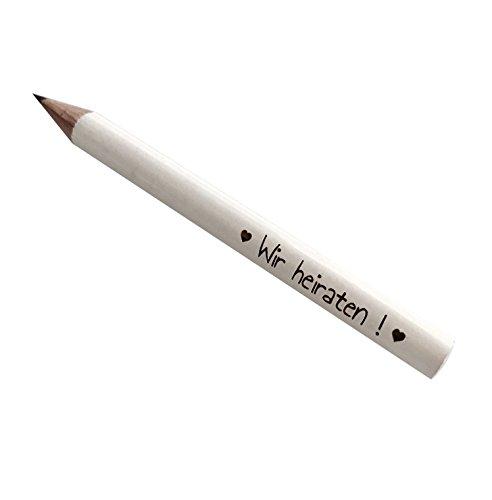 25x WIR HEIRATEN! Mini Bleistifte weiß für die Einladungskarten zur Hochzeit (Wir heiraten!) (Tag Datum-stempel)