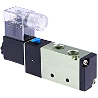 Hemobllo AC 110V RC 1/4 pulg. 2 vías de 5 Posiciones de Aire comprimido Pilot Solenoid Valve Válvula neumática