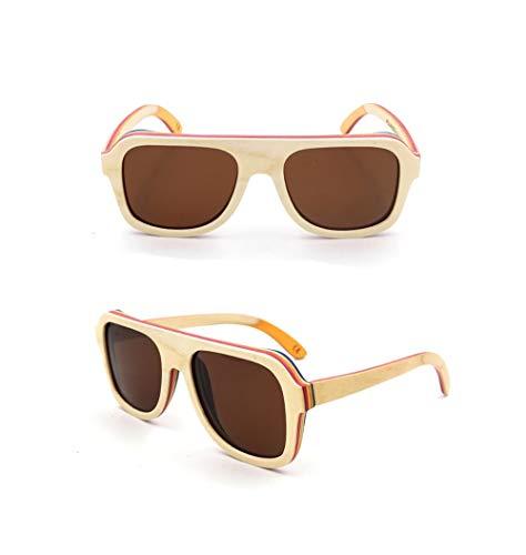 Easy Go Shopping Vintage Wood Pilot polarisierte Sonnenbrille für Männer/Frauen Sonnenbrillen Sonnenbrillen und Flacher Spiegel (Farbe : White Wood Frame/Brown)