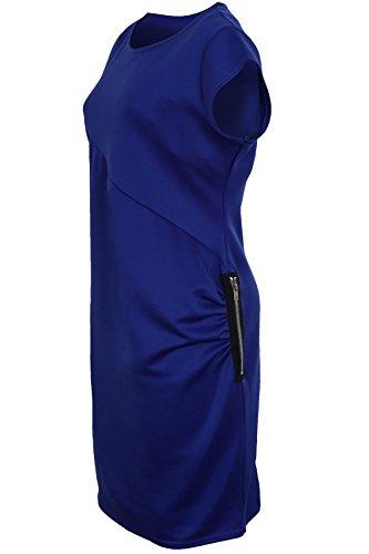 SAPHIR Femmes élégant Grande Taille Moulant femmes Mancheron fermeture éclair côté Robe Réuni Bleu Roi