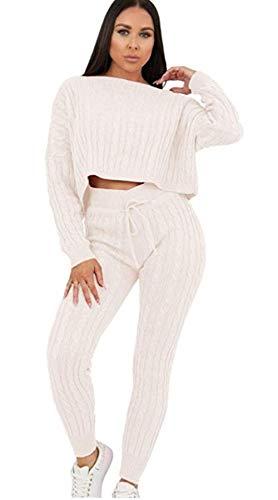 Aramoniat Damen Zopf-Strickhose Co-Ord 2-teilig Anzug Loungewear Trainingsanzug Gr. UK Größe 34, cremefarben