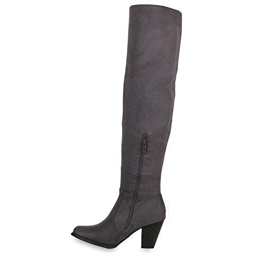 Gefütterte Damen Overknees Lederoptik Stiefel Winter Schuhe Grau