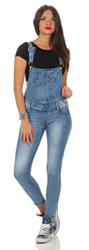 5074 Fashion4Young Damen Jeans Latzhose Röhrenjeans Latzjeans Slimline Damenlatzhose (S=36, blau)