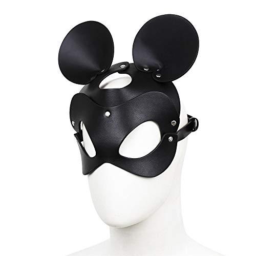 Kostüm Männliche Gras Mardi - Masquerade Mask Augenmaske Männliche und weibliche maskerade maske erwachsene rollenspiele schwarz leder maske runde lange ohr perücke partei cosplay nachtclub maske Halloween Mardi Gras Gesichtsmaske